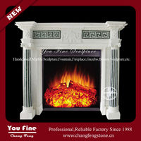 Indoor white luxury marble fireplace mantel for home