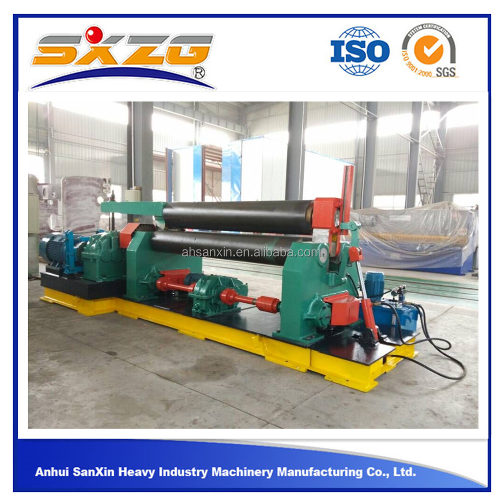 2016 W11 3-roller symmetrical 4mm 6mm 8mm manual steel plate rolling machine of rolls