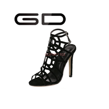 GD Rome style pure black cut outs no platform high heel sandals