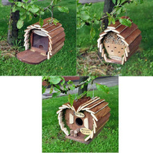 Hanging wooden bee house/insect hotel and feeder