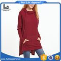 long sleeve burgundy drop shoulder pocket front high low hooded t shirt