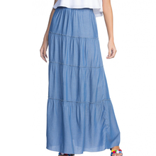 2017 100%Viscose Light Blue Ladies Western Skirt Plain Dyed Summer Casual Long Skirts