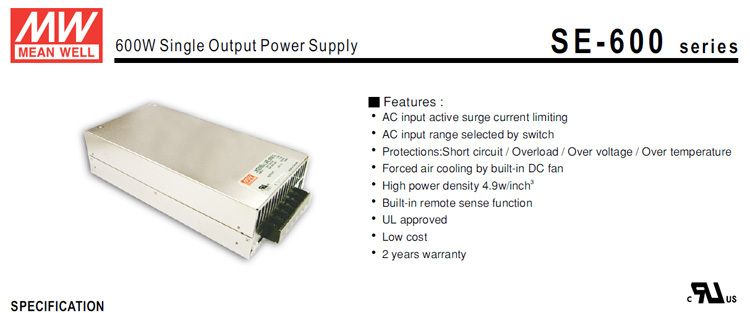 Original Meanwell SE-600-24 600W Single Output Switching Power Supply