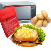 Red Washable Cooker Bag Baked Potato Microwave Cooking Potato Quick Fast (cooks 4 potatoes at once)