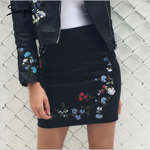 Simplee 2017 fashion PU leather embroidery pencil mini skirt with zipper pocket for outerwear