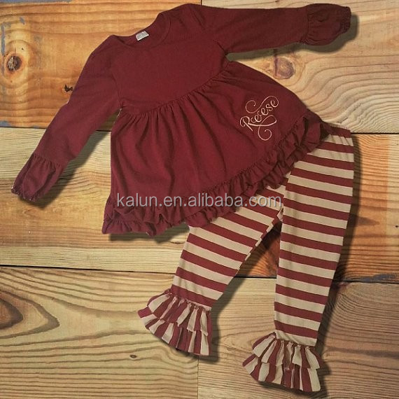 kL-OF-007 2017 kids summer capri outfits easter boutique outfits damask Burgundy ruffle outfits