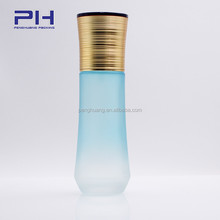 cosmetic glass bottle Frosted blue 60ml 2oz for oil with gold pump cap