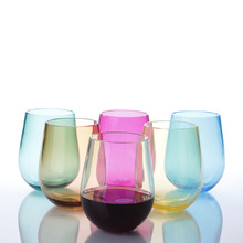 Good Reputation Factory Price BPA Free Plastic Wine Cup,Transparent Colored Wine Glasses