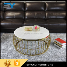 New style hotel home furniture luxury round marble coffee table CJ004