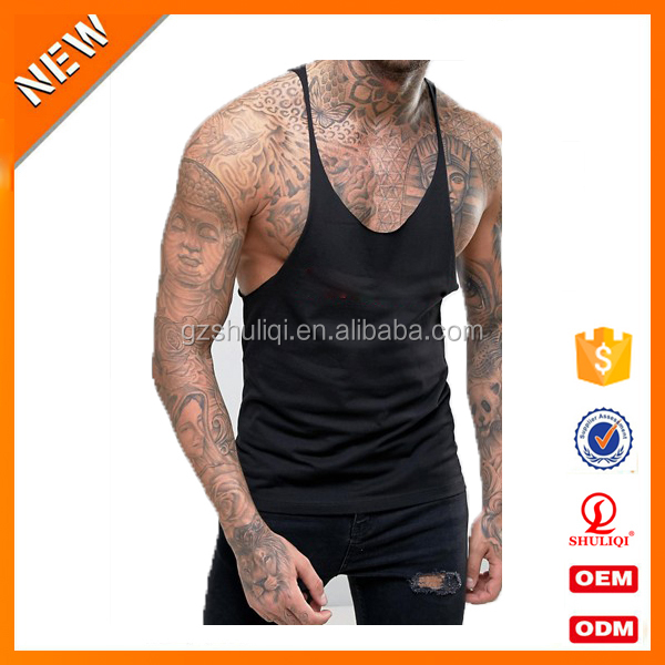 Active fitness 100% cotton material and open side men gender wholesale men tank tops custom logo