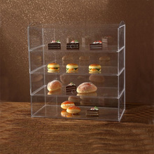 4 Tier Custom Clear Acrylic Bread Cupcake Display Case Cabinet for bakery