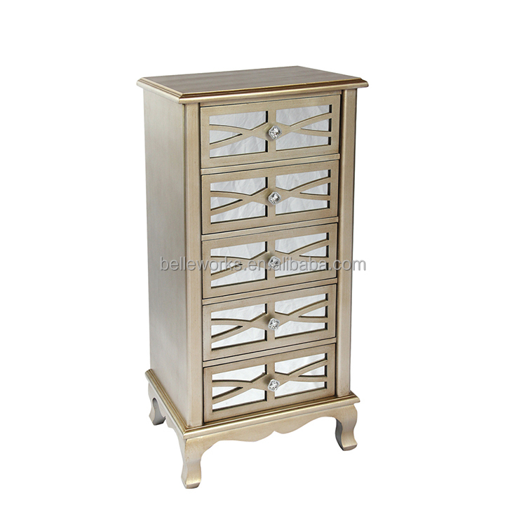 European bedroom champagne gold storage Drawer lockers