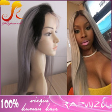 Free and Middle part ing natural Hair Line Sliky Straight Ombre human Hair Two Tone 1b Gray Natural Hair Full Lace Wig