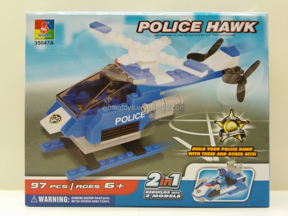 new promotional toy police hawk helicopter cube block