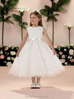 white chiffon layered round neck baby gown wedding dress kid wear