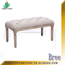 Europe style wooden stools chair/classical Modern wooden long soft fabric bench with button