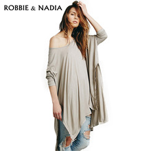 2015 new spring and summer and simple sexy wear cloak T-shirt shirt haoduoyi split on both sides