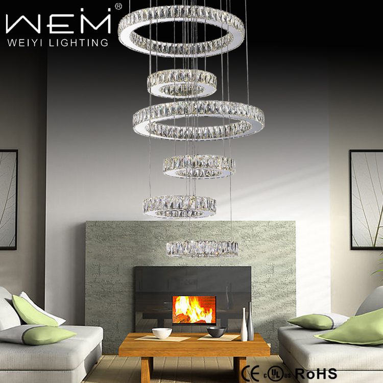 6 rings 96W Large Cristal Chandeliers Adjustable Pendant Lamp for Hotel Commercial LED Pendant Lighting