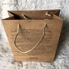 Food Grade Eco Fruits Packaging Strong Thick Brown Kraft Paper Bag with Riboon Handle and Fruits Insert