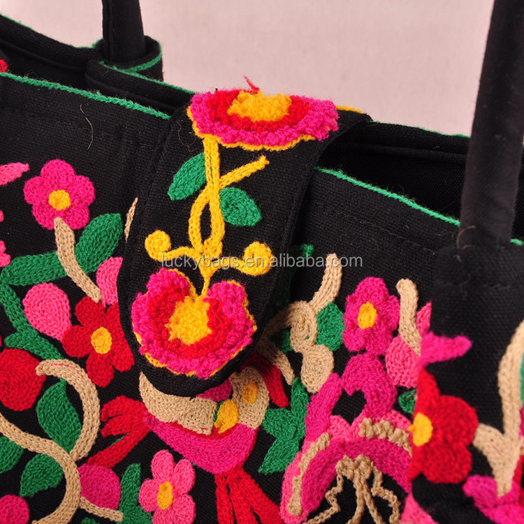 Yunnan luckybags high quality hand bags beautiful ethnic embroidery fashion shoulder bag for women