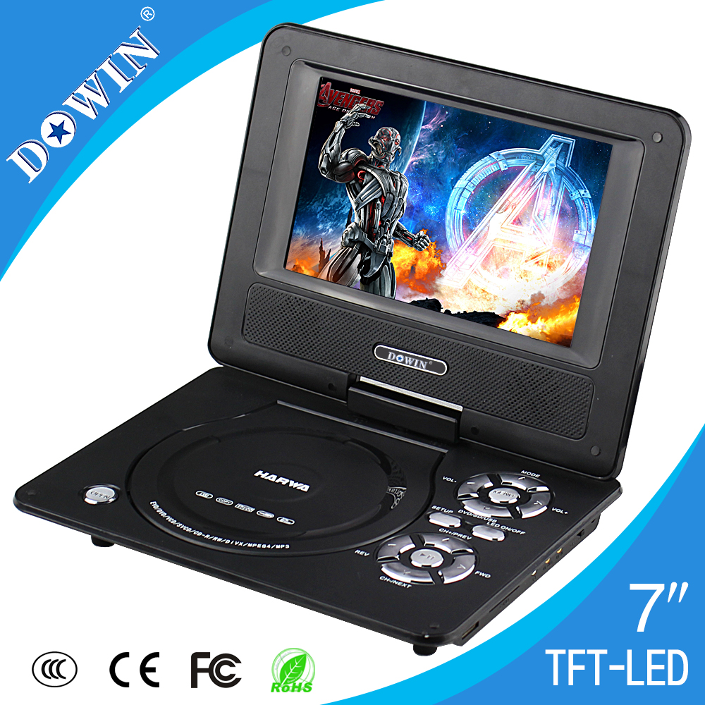 7 inch Portable mini DVD player with SD/USB/MP3 support