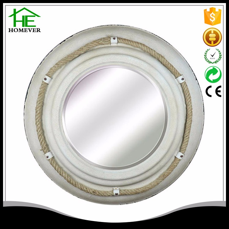 vintage decoration carve round metal frame wall mirror