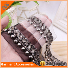 Hot Sale Clothes Decorative Applique 8mm Plating Beads Lace Trim