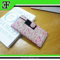 Wholesale fashion flower cheap pu leather mobile phone wallet case