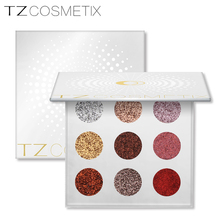 2017 new TZ cosmetics 9 colors glitter shimmer matte foiled eyeshadow palette