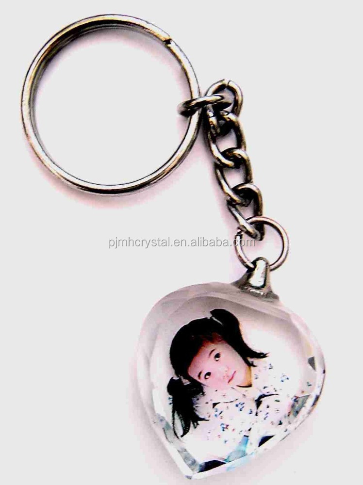 keychain gifts/3d laser clear wholesale crystal photo keychain MH-YS1300
