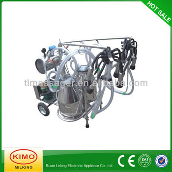 Electric Vacuum Pump-typed Double-barreled Mobile Milking Machine With Stainless Steel Shelf