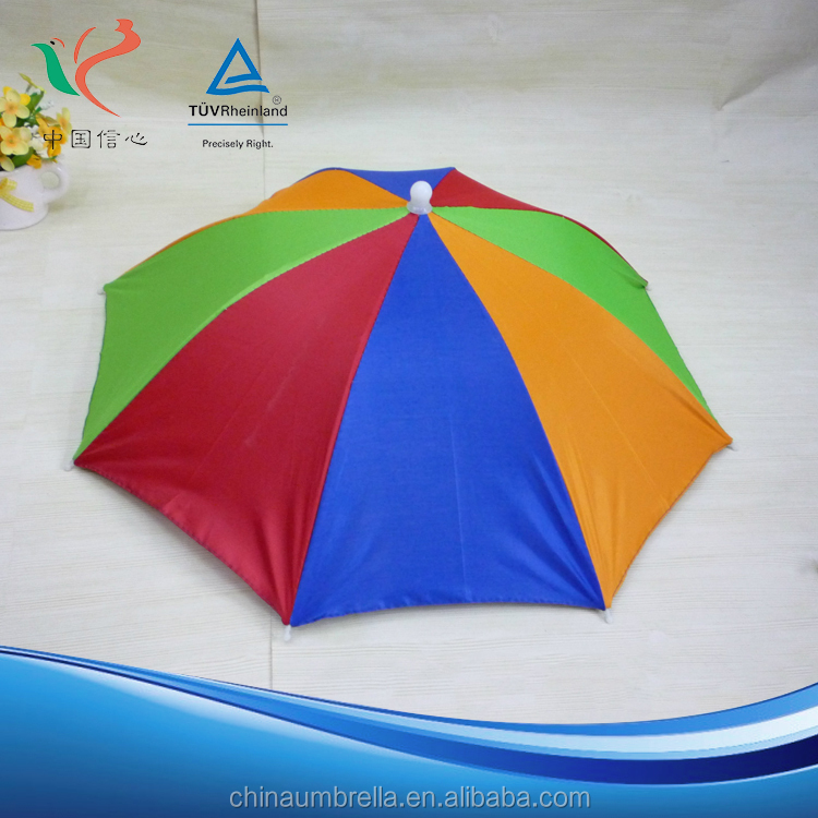 Wholesale popular promotions high quality rainbow 5 fold umbrella hat