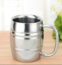 1000ml l Barrel-shaped stainless steel beer mug, 500ml double wall drinking beer mug with big handle