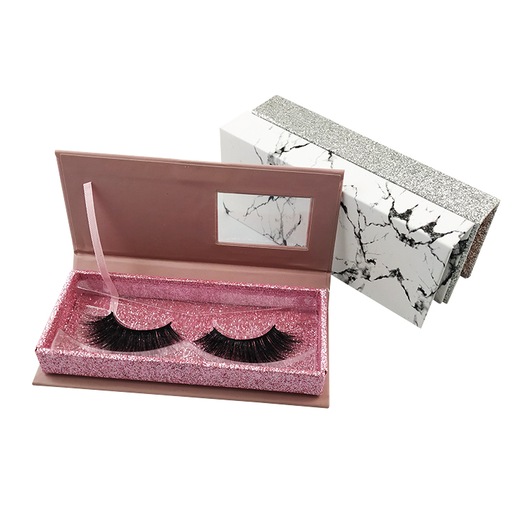 Custom made packaging Box  Crossing Multi- Layered 3D Silk Synthetic False Full Strip  Faux Mink Eyelashes