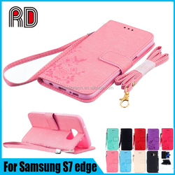 Fashion Butterfly Printing Leather Lanyard Flip Case for Samsung S7 Edge Card Slot Wallet Pouch
