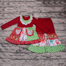 Wholesale Cheap Baby Boutiques Store Christmas Party Wear for Little Girls Long Sleeve Smocked Design 2PCS Cute Ruffle Clothing
