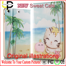 Original illustration sweat cats leather case for 7.9 inch tablet pc for ipad