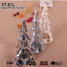 electro-plated hollow out tree shaped ceramic christmas silver votive candle holders