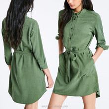 Latest design women casual style waist tie ladies long shirt dress