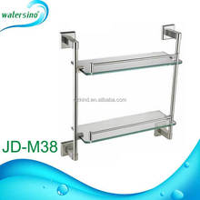 Stainless steel 304 bathroom two tier glass shelf