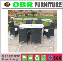 2016 modern wicker dining set with tempered glass top outdoor furniture
