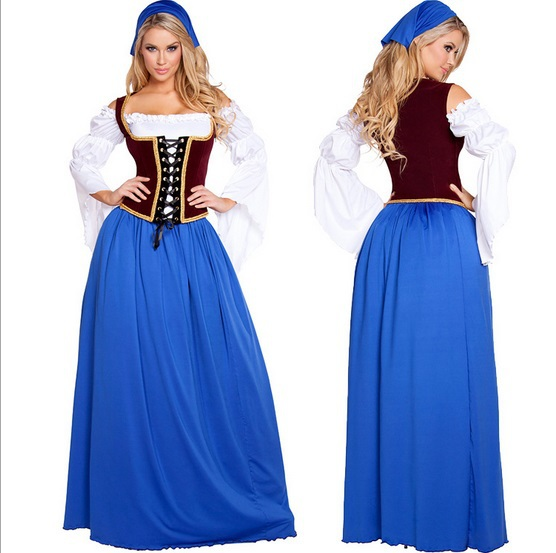 Free Shipping 2015 New Style Blue Germany Beer Oktoberfest Beer Girl Costumes Promotional Maid Temptation Sexy Costumes