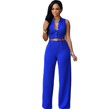 2017 Fashion 6 Colors Sexy Sleeveless Wide Leg Women Jumpsuit With Belt