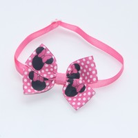 Pink Bow with Dog and Dog Print 20-36cm Control Dog Bow Tie Cat Collar Pet Products Supplier V1157