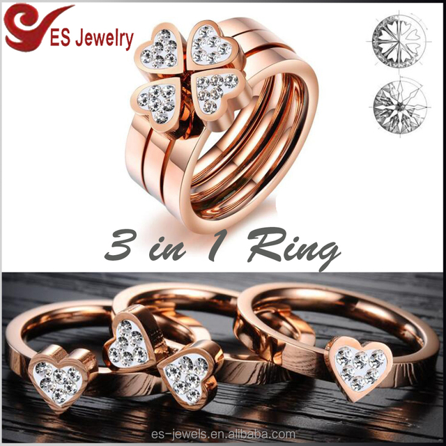 3 in1 Four-Leaf Clover Rose Gold Plated Stainless Steel Ring Diamond Finger Lady Ring with CZ Stone Inlaid