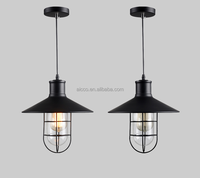 Industrial Vintage Marine Black Metal With Clear Glass Pendant Lighting