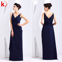 Beautiful sleeveless sexy backless v-neck chiffon beaded maxi royal blue fashion evening dress for young girls kt1043