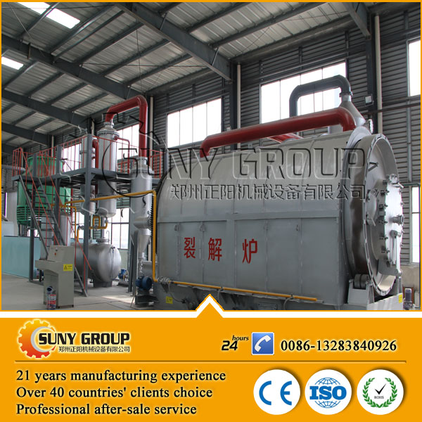 high output waste tyre pyrolysis to oil machine