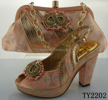 Peach color italian matching shoes and bags/wholesale italian shoes and bags with rhinstone