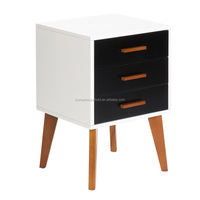Nordic style natural color ash wood Lacquer bedside tables nightstands with four legs for bedroom
